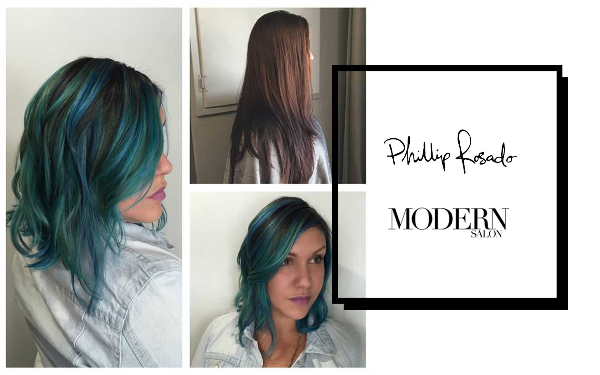 PHILLIP ROSADO WITH MODERN SALON ON HOW TO CUT AND BLUE GREEN COLOR